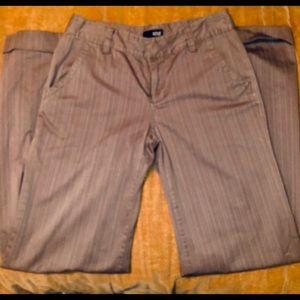 Brown pinstriped wide leg denim slacks.